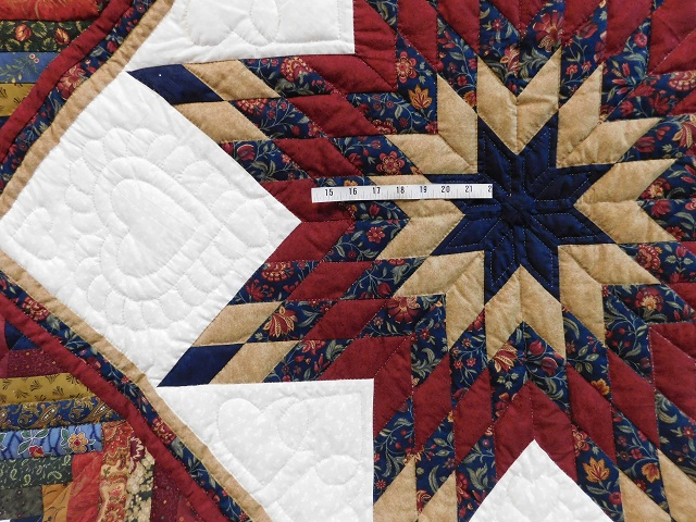 Navy Burgundy and Beige Lone Star Log Cabin Quilt Photo 5