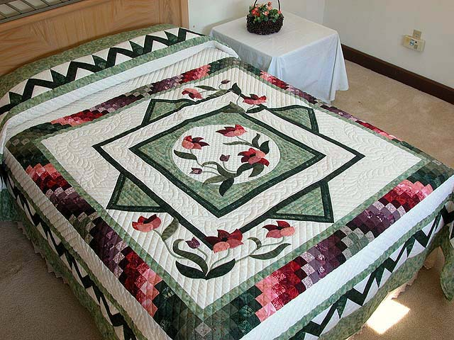 Mint Plum and Coral Rainbow Reflections Quilt Photo 1
