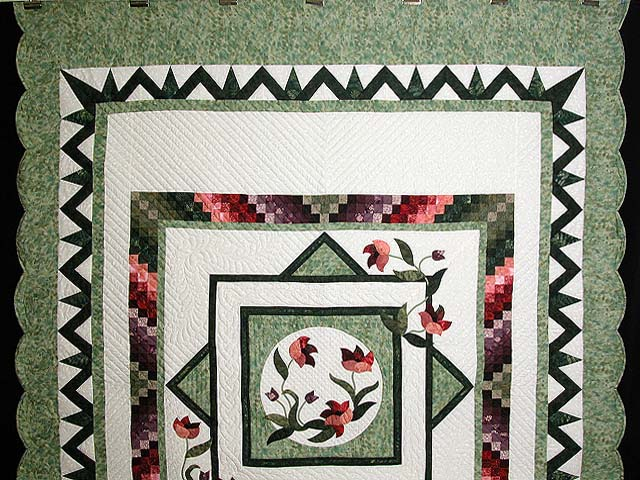 Mint Plum and Coral Rainbow Reflections Quilt Photo 2