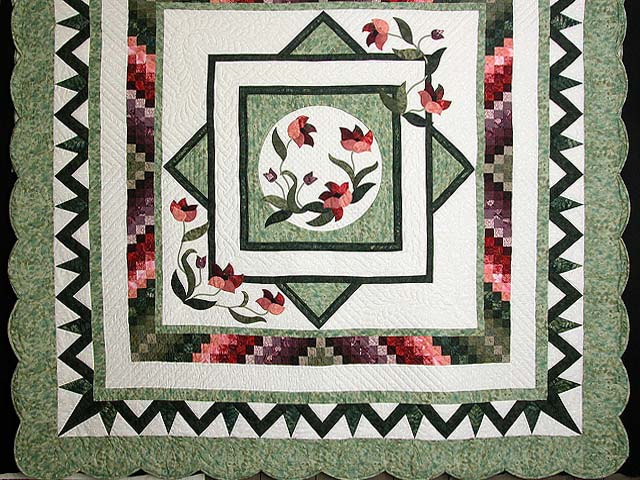 Mint Plum and Coral Rainbow Reflections Quilt Photo 3