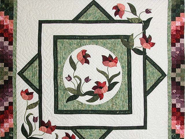 Mint Plum and Coral Rainbow Reflections Quilt Photo 4