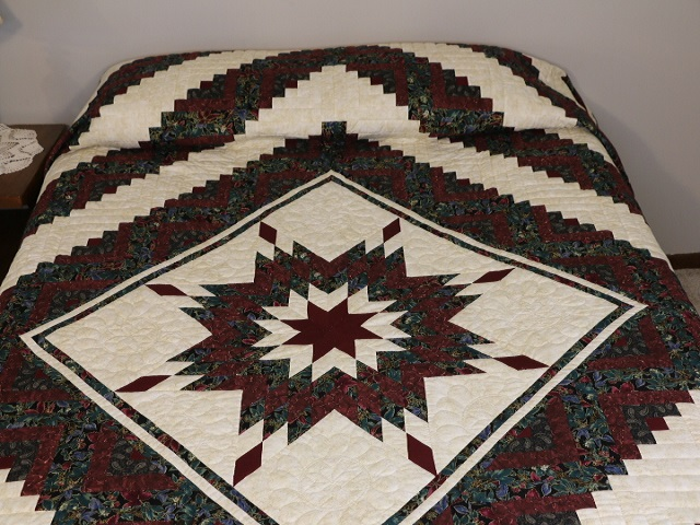 Burgundy Black and Gold Lone Star Log Cabin Quilt Photo 1