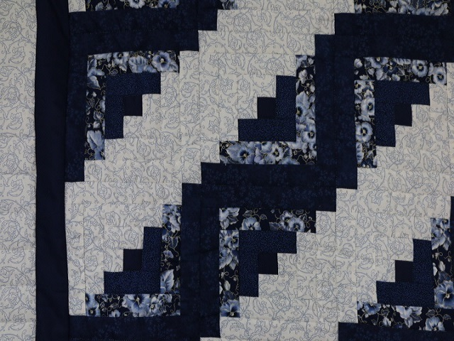 Navy Blue Lone Star Log Cabin Quilt Photo 5