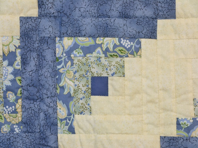 Blue Yellow Green Lone Star Log Cabin Quilt Photo 6