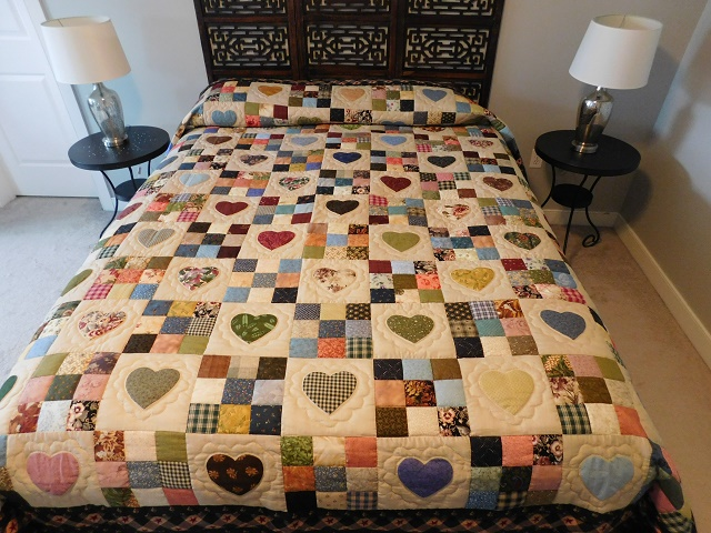 Navy and Multicolor Hearts and Nine Patch Quilt Photo 1