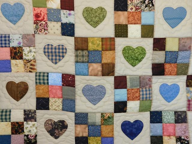 Navy and Multicolor Hearts and Nine Patch Quilt Photo 3