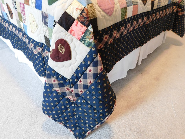 Navy and Multicolor Hearts and Nine Patch Quilt Photo 7