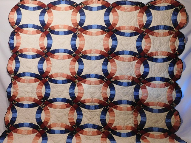 Navy and Salmon Double Wedding Ring Quilt Photo 2