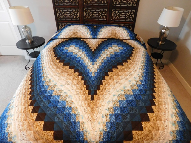 Blue and Beige Bargello Hearts Quilt Photo 1