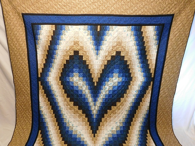 Blue and Beige Bargello Hearts Quilt Photo 2