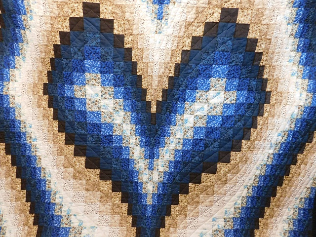 Blue and Beige Bargello Hearts Quilt Photo 3