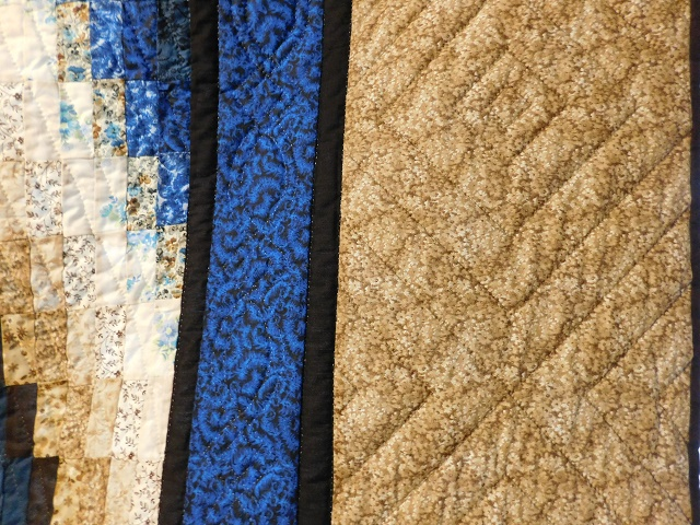 Blue and Beige Bargello Hearts Quilt Photo 4