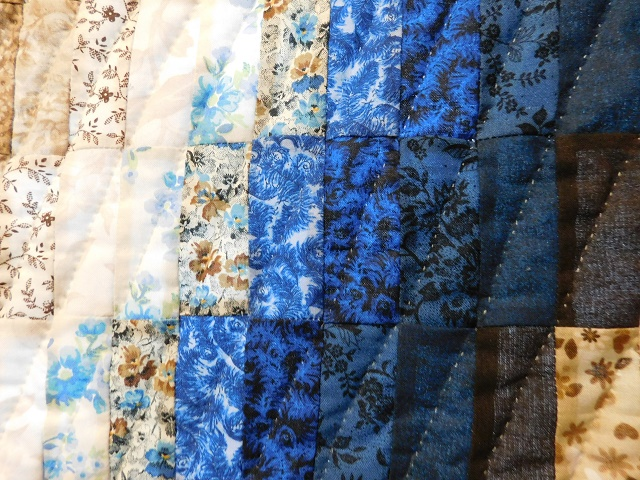 Blue and Beige Bargello Hearts Quilt Photo 5