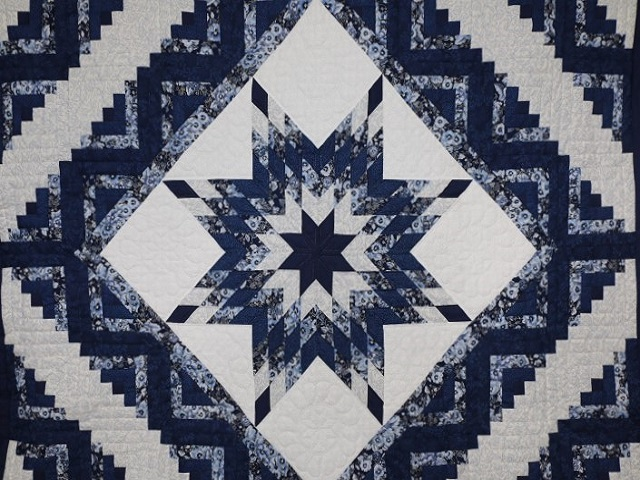 Navy Blue Lone Star Log Cabin Quilt Photo 3