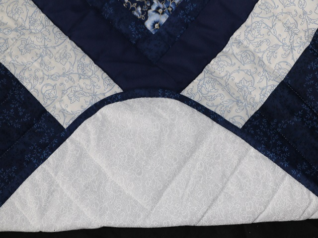 Navy Blue Lone Star Log Cabin Quilt Photo 8