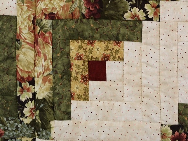 Green Gold and Deep Burgundy Lone Star Log Cabin Quilt Photo 6