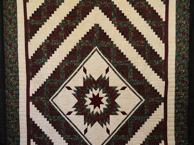 Burgundy Black and Gold Lone Star Log Cabin Quilt Photo 2