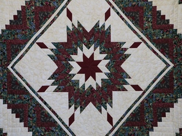 Burgundy Black and Gold Lone Star Log Cabin Quilt Photo 3