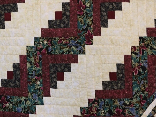 Burgundy Black and Gold Lone Star Log Cabin Quilt Photo 5