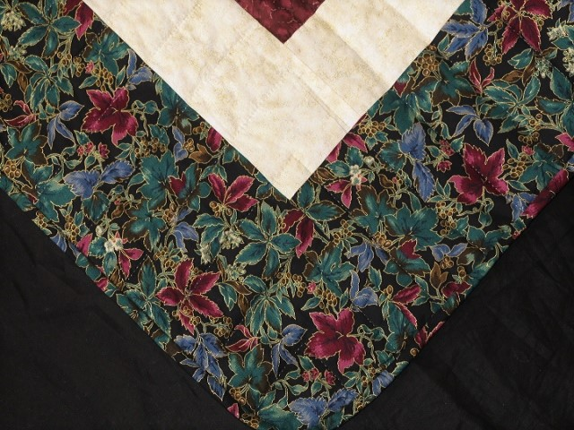 Burgundy Black and Gold Lone Star Log Cabin Quilt Photo 8