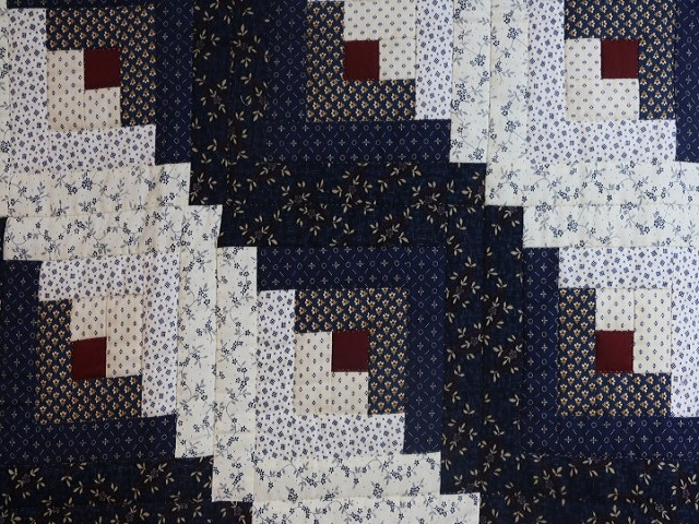 Navy Blue and Burgundy Lone Star Log Cabin Quilt Photo 7