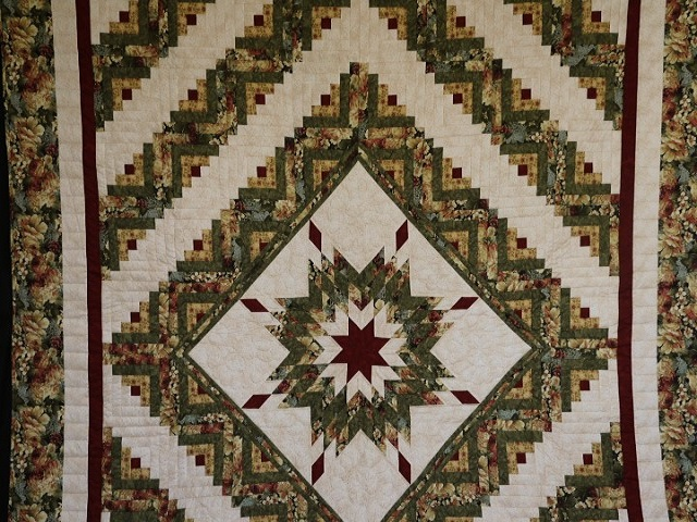 Green Gold and Deep Burgundy Lone Star Log Cabin Quilt Photo 2