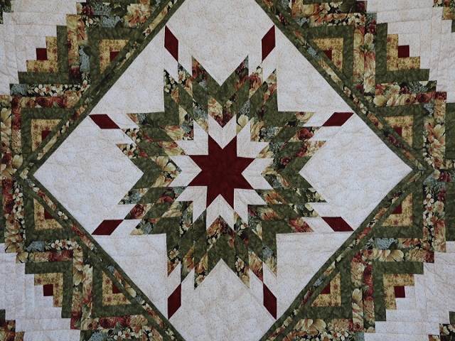 Green Gold and Deep Burgundy Lone Star Log Cabin Quilt Photo 3