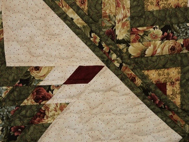 Green Gold and Deep Burgundy Lone Star Log Cabin Quilt Photo 4