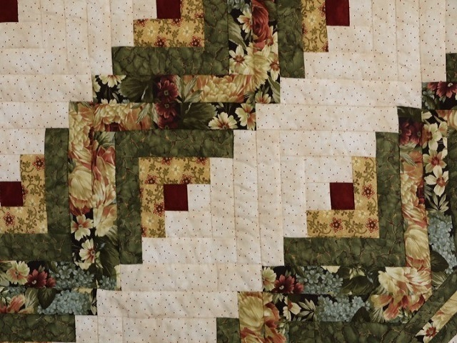 Green Gold and Deep Burgundy Lone Star Log Cabin Quilt Photo 5