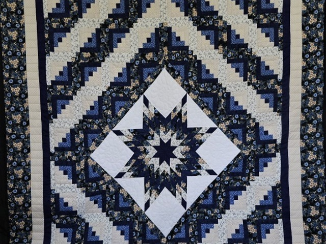 Navy Blue and Tan Lone Star Log Cabin Quilt Photo 1