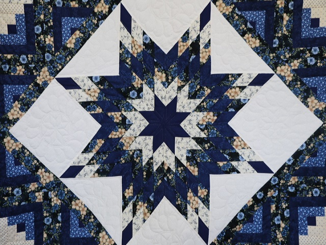 Navy Blue and Tan Lone Star Log Cabin Quilt Photo 3