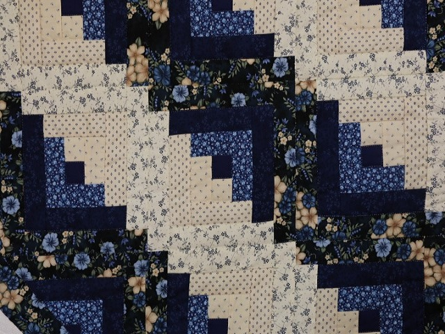 Navy Blue and Tan Lone Star Log Cabin Quilt Photo 6