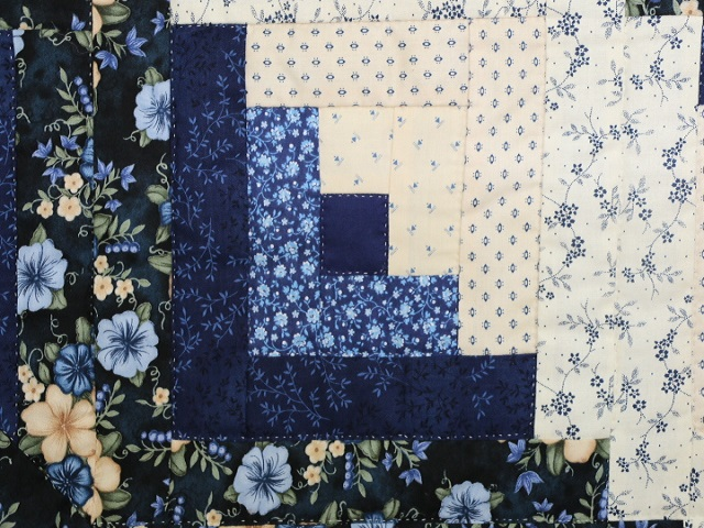 Navy Blue and Tan Lone Star Log Cabin Quilt Photo 7