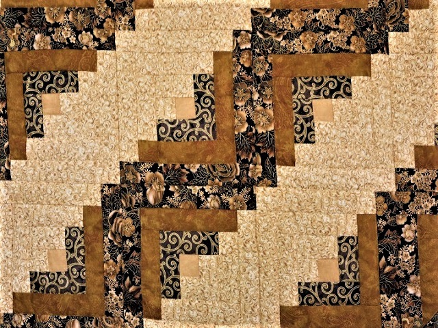Black and Gold Lone Star Log Cabin Quilt Photo 4