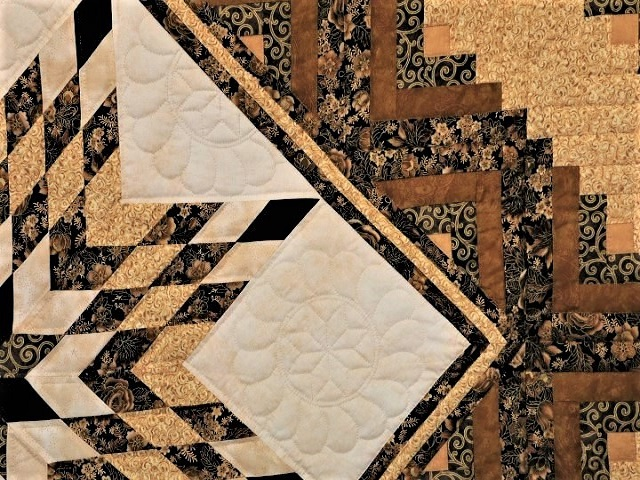 Black and Gold Lone Star Log Cabin Quilt Photo 7