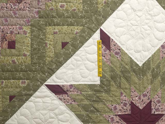 Burgundy Rose and Sage Lone Star Log Cabin Quilt Photo 4