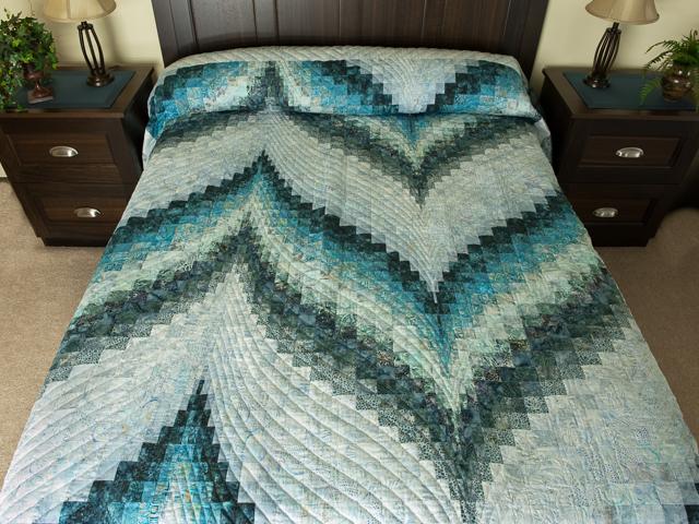 Bargello Flame Batik ocean spray blues  Queen size bed Photo 1