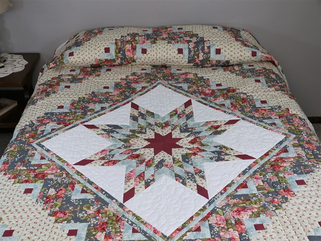 Slate Blue and Rose Lone Star Log Cabin Quilt Photo 1