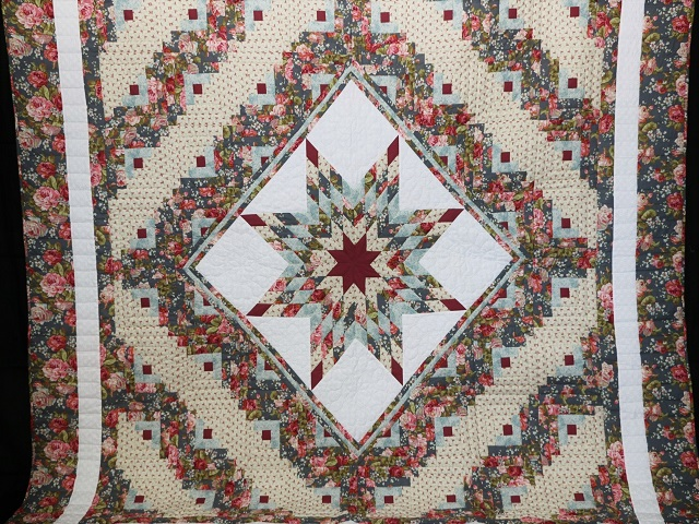 Slate Blue and Rose Lone Star Log Cabin Quilt Photo 2