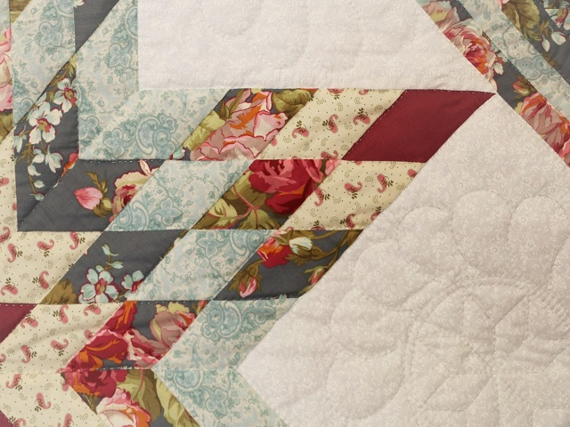 Slate Blue and Rose Lone Star Log Cabin Quilt Photo 4