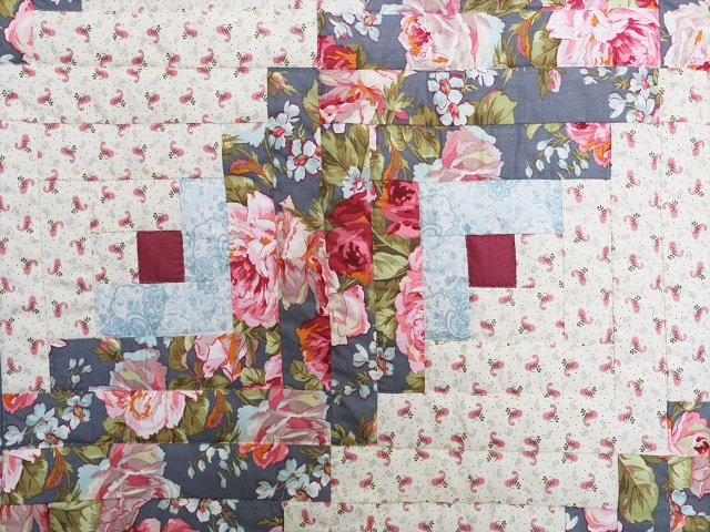 Slate Blue and Rose Lone Star Log Cabin Quilt Photo 5