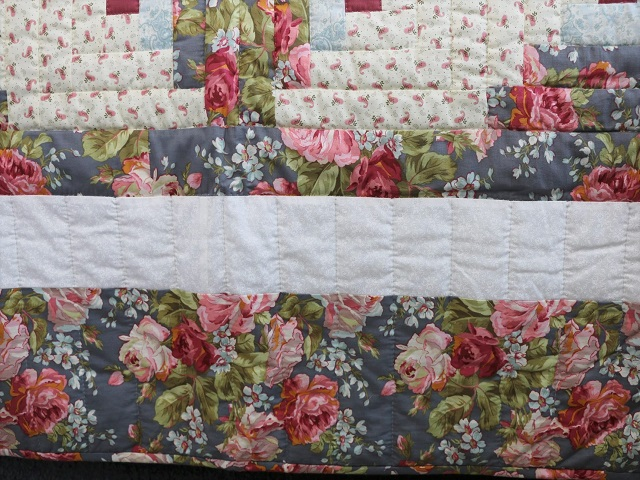 Slate Blue and Rose Lone Star Log Cabin Quilt Photo 7