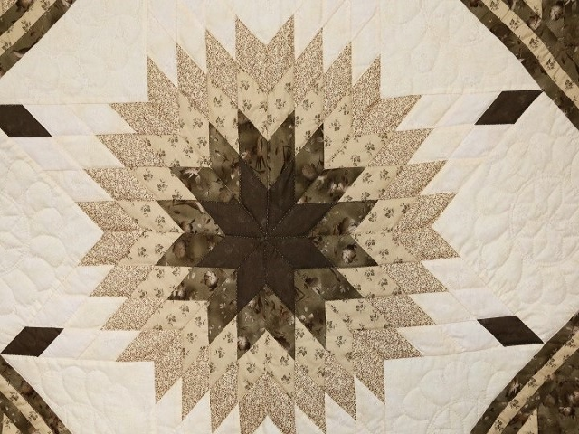 Soft Olive Green and Cream Lone Star Log Cabin Quilt Photo 4
