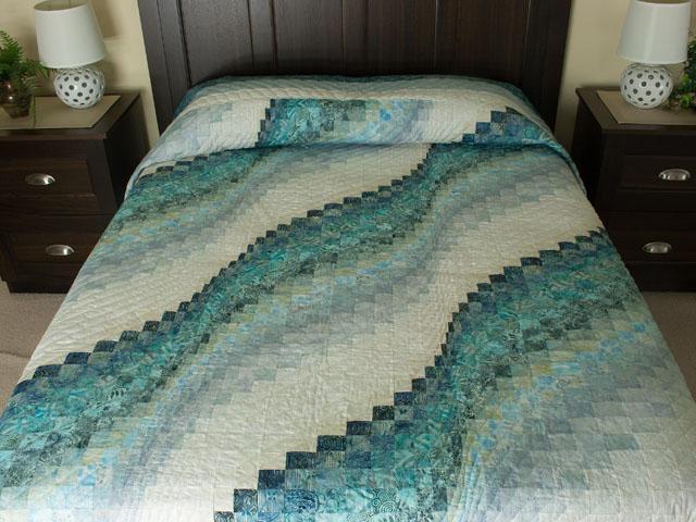 Bargello Wave in Ocean Blue Batiks Queen size bed quilt Photo 1