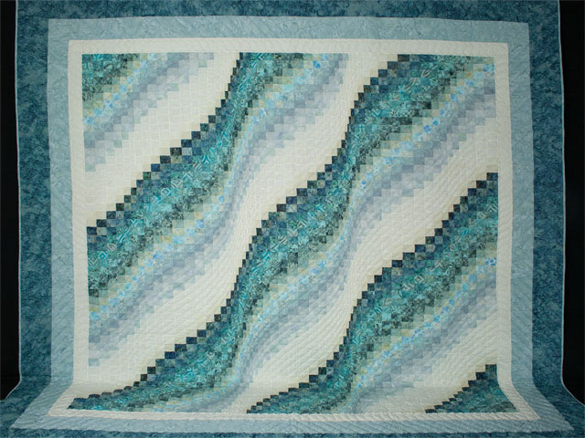 Bargello Wave in Ocean Blue Batiks Queen size bed quilt Photo 2