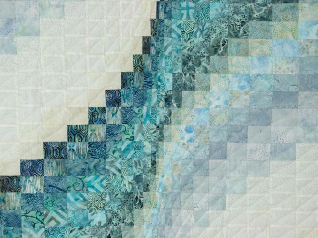 Bargello Wave in Ocean Blue Batiks Queen size bed quilt Photo 4