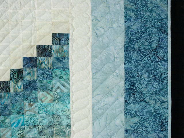 Bargello Wave in Ocean Blue Batiks Queen size bed quilt Photo 5