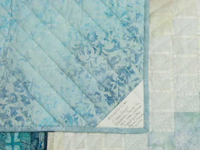 Bargello Wave in Ocean Blue Batiks Queen size bed quilt Photo 6