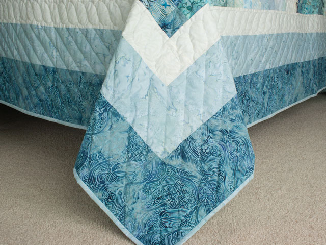 Bargello Wave in Ocean Blue Batiks Queen size bed quilt Photo 7