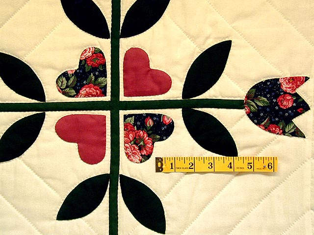 Rose and Dark Green Tulip Applique Quilt Photo 6